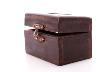 Old wooden box of treasure  isolated on white background