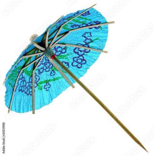 mini ombrelle chinoise bleue décoration fond blanc