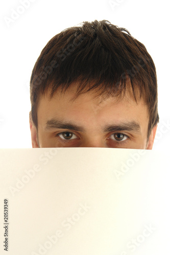 man eyes with empty screen