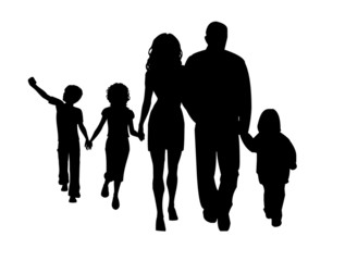 large family silhouette walking vector