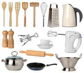 Kitchen utensils isolated on white background