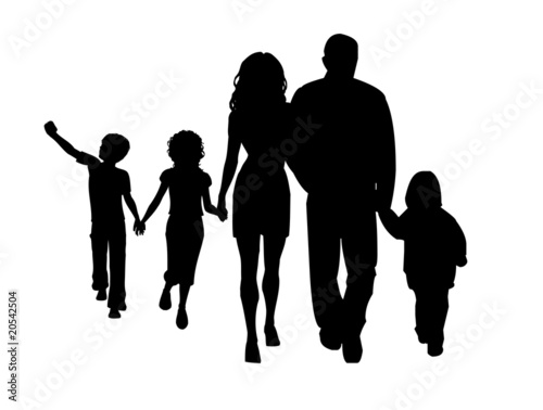 Vector  large family silhouette walking vectorFamily Walking Silhouette
