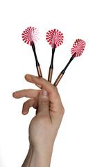 Dart arrows in hand