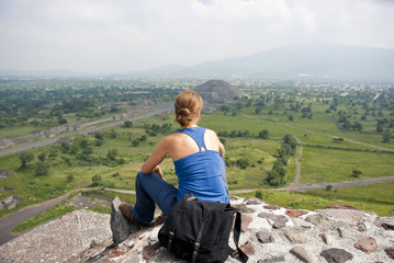 Tourist in Teotihuacan archaeological site (Mexico)