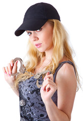 Blond woman with handcuffs