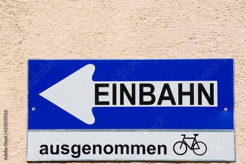One way sign in downtown Vienna, Austria