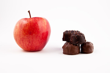 Red Apple and chocolate pieces