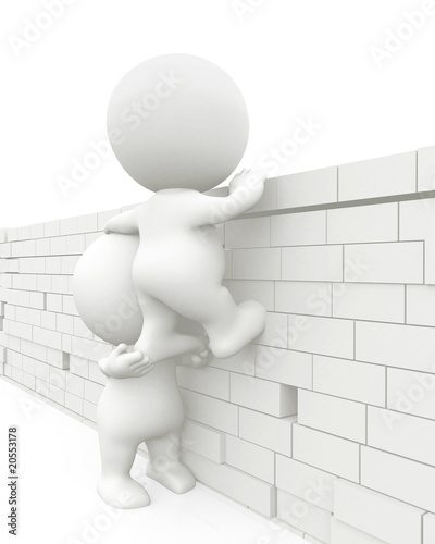 3D men jumping a wall
