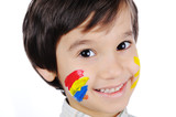 Very positive kid with colors on cheek poster