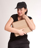 Delivery girl holding parcel poster