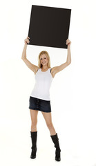 Attractive Model Holding Blank Signboard