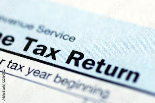 Leinwanddruck Bild Close up view of the income tax return