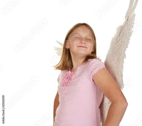 smug angel fairy girl with wings