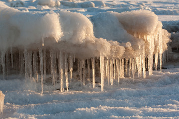 Icicles in winter on sunset light
