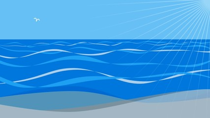 Sea blue wave scenery graphics loop