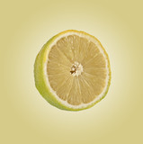Section of lemon isolated on background