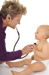 brave baby and nice doctor