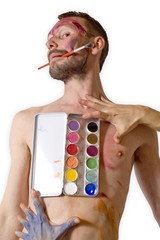 palette de peinture à l'eau sur poitrine