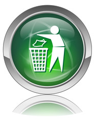 TIDYMAN Button (Green Trash Bin Sign Ecology Pollution Vector)