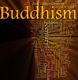 Buddhism word cloud glowing poster