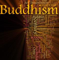 Buddhism word cloud glowing