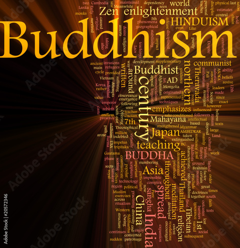 Buddhism word cloud glowing