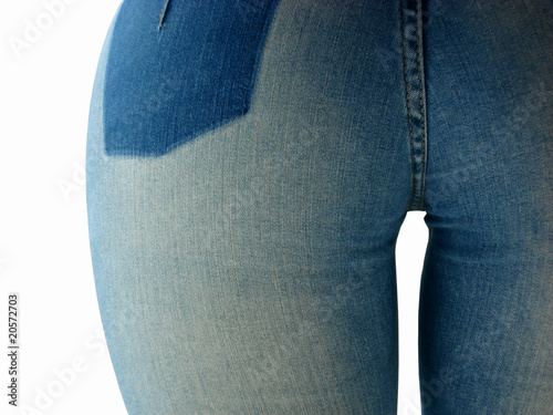 woman in tight blue jeans