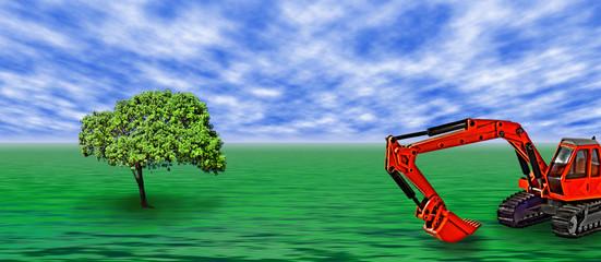 Der Baum mit dem Bagger