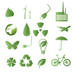 Ecological icon set. 16 green vector symbols