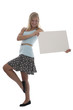 Pretty teen girl holding blank sign