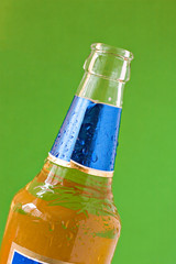 cold beer bottle isolated on green background