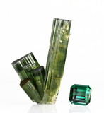 Verdelite tourmaline crystals and 32ct gemstone poster