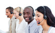 Competitive business people working in a call center