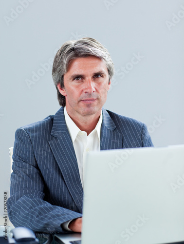 Portrait of a mature executive working at a laptop