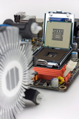 motherboard and CPU fan out of focus