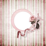 Romantic frame on shabby background poster