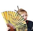 little girl with fan