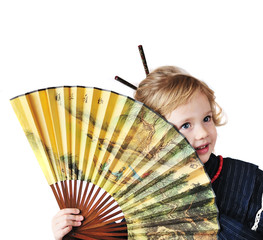 little girl with fan