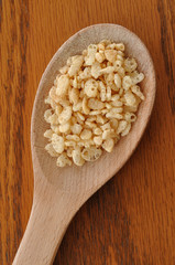 Crispy Rice Cereal on Wooden Spoon