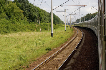 Passenger train in low motion
