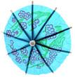 ombrelle décorative bleue fond blanc
