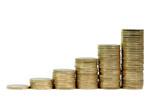 Monete da un Euro in crescita isolate poster