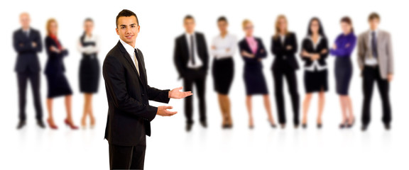 businessman welcoming to his team