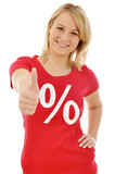 Junge Frau im Sale-Shirt Daumen rauf poster