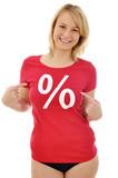 Junge Frau im Sale-Shirt poster
