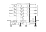 CAD Architectural Five storey building section drawing