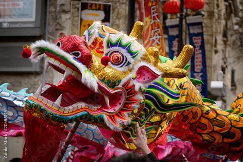 Leinwanddruck Bild Dragon nouvel an Chinois