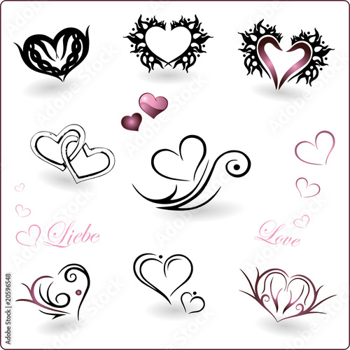 Valentinstag Herz Herzen Liebe Vektor Set Love on symbol signs and meaning