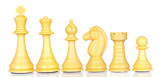 White chess pieces in order of decreasing poster