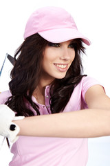 Golf Player Woman. studio isolated shot